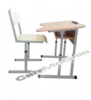 Комплект: Стол 1-местный антискол. с полкой, №3-5+ стул Т-образный, №3-5