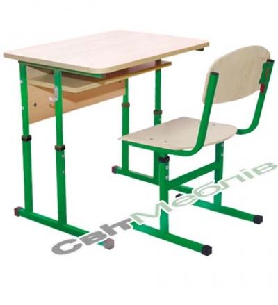 Комплект: стіл учнівський 1-місний з полицею, №4-6 + стілець Т-подібний, №4-6