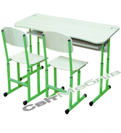 Комплект: стіл 2-місний антисколиоз. з полицею, №4-6 + стілець полозковий, №4-6