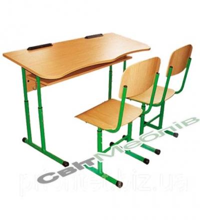 Комплект: стіл 2-місний антисколиоз. з полицею, №4-6 + стілець Т-подібний, №4-6