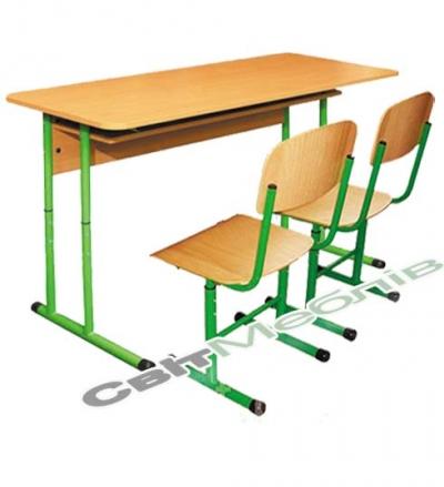 Комплект: Стол ученический 2-местный с полкой, №4-6 + стул Т-образный, №4-6