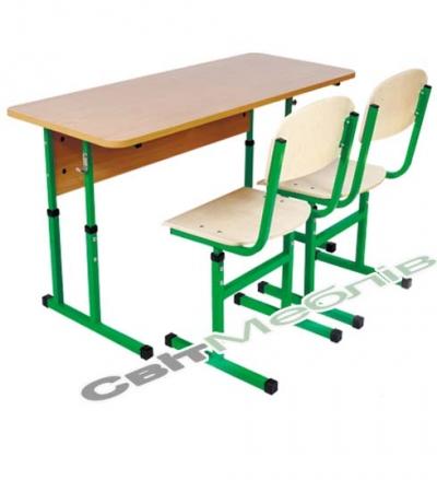 Комплект: стіл учнівський 2-місний без полиці, №4-6 + стілець Т-подібний, №4-6