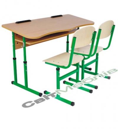 Комплект: стол 2-местный антискол. с полкой, №4-6 + стул Т-образный, №4-6