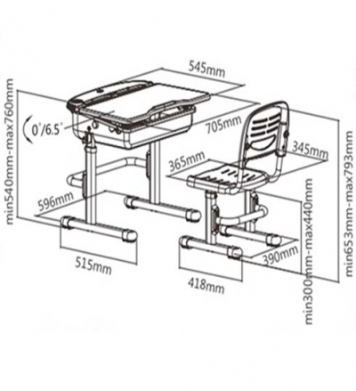 Комплект-транформер: стіл 1-місний + стілець