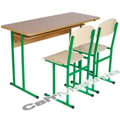 Комплект: стол ученический 2-местный с полкой, №6 + стул полозковый, №6