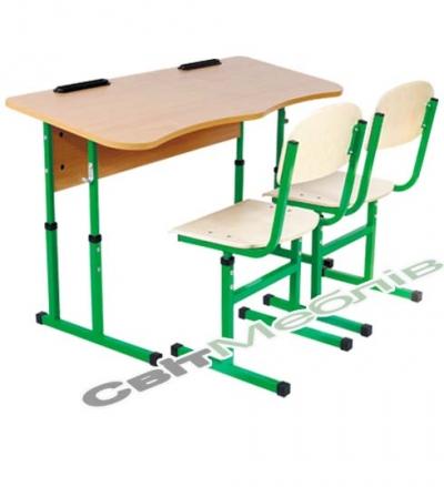 Комплект: стол 2-местный антискол. без полки, №4-6 + стул Т-образный, №4-6