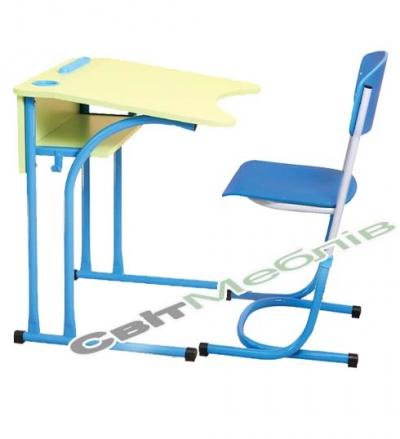 Комплект: стіл 1-місний антисколіоз., №4-6 + стілець №4-6 з регул.по висоті