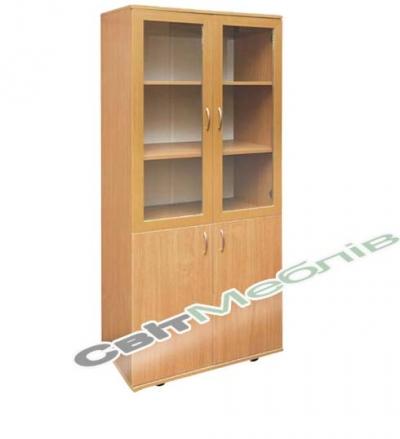 Шафа книжкова зі склян. дверцятами (гл. 380мм)
