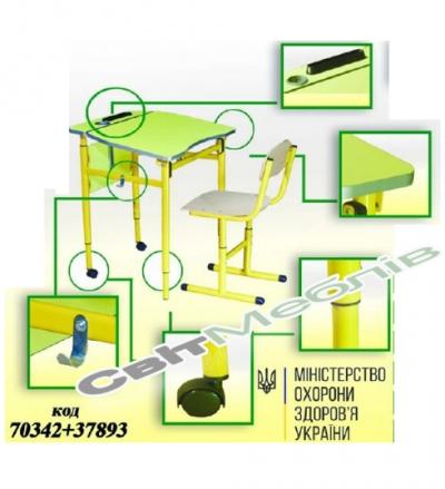 Комплект Стіл 6-кутний мобільний з регулюванням кута нахилу стільниці №3-5 + Стілець Т-подібний на круглій трубі,  №2-5